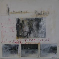 """dailyartjournal:  Sylvie Thouron, """"So Late Angel"""", mixed media on canvas"""