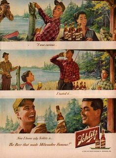 vintage beer and alcohol ads Funny Vintage Ads, Vintage Humor, Vintage Advertisements, Fishing Signs, Fly Fishing, Women Fishing, Fishing Stuff, Print Advertising, Print Ads