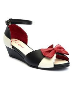 7ffc6e88300e Lola Ramona Black   Red Bow Lennie Leather Wedge Sandal