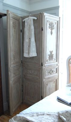 French Limed 3 Panel Screen