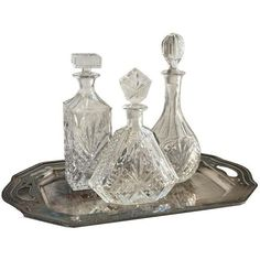Vintage Silver Tray & Decanters - Set of 4 (1.810 HRK) ❤ liked on Polyvore featuring home, home decor, small item storage, decorative trays, silver home decor, silver home accessories and silver tray