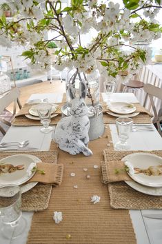 Simple Spring Cottage Farmhouse Easter Table - Fox Hollow Cottage