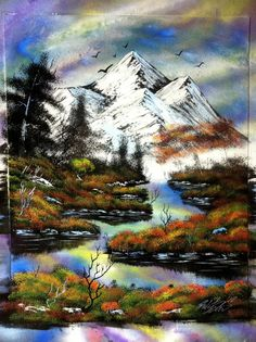 14x18 inch Fall Mountains spray painting by RS10SprayPaint on Etsy, $100.00