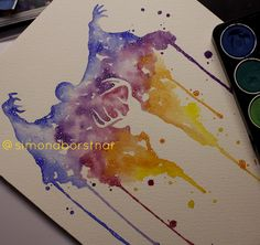 """my watercolor take on this dementor patronus idea. harry potter expecto patronum art"""