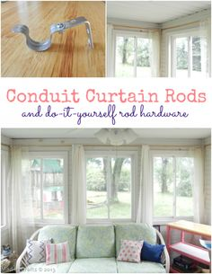 Why are curtain rods their accompanying hardware so stinking expensive?  If you dress your windows with items bought at a mid-priced store like Target, you could end up paying more for the curtain rods than for the curtains!   My made over sunroom has 8 windows because a sunroom kind of fails at its …