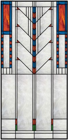 Vertical Stained Glass Window With Frank Lloyd Wright Inspired Theme Más Stained Glass Quilt, Stained Glass Door, Stained Glass Designs, Stained Glass Panels, Stained Glass Projects, Stained Glass Patterns, Leaded Glass, Mosaic Glass, Frank Lloyd Wright