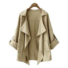 Open Front Trench Coat|Disheefashion (1.535 RUB) ❤ liked on Polyvore featuring outerwear, coats, brown coat, brown trench coat, open front coat and trench coat