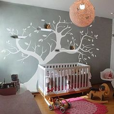 MairGwall Nursery Wall Sticker Mural Removable Leaves Trunk Branch Wall Decal Art Vinyl Photo Frame Tree Decoration Wallpaper BXLargeWhite >>> You can find more details by visiting the image link.