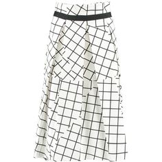 Infold Skirt (365 CAD) ❤ liked on Polyvore featuring skirts, high waisted knee length skirt, white high waisted skirt, patterned skirts, white skirt and high rise skirts
