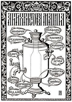 All the samovar parts in Russian