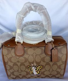 NWT Baseman X Coach F57909 Butch Mini Bennett Satchel Signature Bag Khaki Brown  #Coach #Satchel