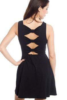 Gifted with Grace Back Bow Skater Dress - Black from Finesse at Lucky 21