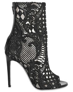 Open-toe lace guipure boots $1885. hahah I'll never be able to afford these. But they're so nice to look at... #balmain #shoes