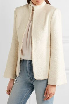 Rachel Zoe Adley bouclé jacket $895 White bouclé  Concealed hook fastenings through front 38% virgin wool, 19% mohair, 19% alpaca, 19% polyamide; lining: 100% silk Dry clean Imported