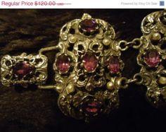 RARE Vintage Bracelet Pegasus JEWELCRAFT England WIDE Purple Rhinestone Silvertone Art Deco Jewelry 40's Collectible