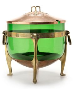 Albin Müller, Secessionist punch bowl, c. 1904, copper, brass, green glass, manufactured by Eduard Hueck, Germany, 30cm H.