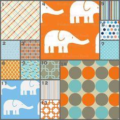 Modern Elephants in Orange/ Blue (Modern Baby Bedding Crib Set). $225.00, via Etsy.