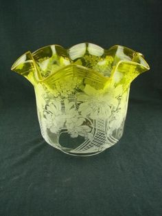 """VICTORIAN ACID YELLOW BEAUTIFULLY ETCHED GLASS TULIP OIL LAMP SHADE 4"""" FITTER Antique Oil Lamps, Antique Glass, Etched Glass, Glass Etching, Lamp Shades, Victorian, Smoke, Yellow, Vintage"""