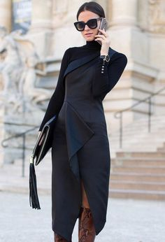 Midi Turtleneck Black Dress Fall Iinspo - Total Street Style Looks And Fashion Outfit Ideas News Fashion, Look Fashion, Autumn Fashion, Fashion Outfits, Womens Fashion, Chloe Fashion, Fashion Bloggers, Fashion Trends, Mode Chic