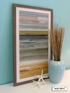 16 x 28 Land-Sea-Sky Each piece features reclaimed and salvaged wood pieces assembled using environmentally friendly eco-glue. Reclaimed Wood Art, Reclaimed Wood Projects, Barn Wood, Wood Wood, Diy Wood, Wood Walls, Recycled Wood, Rustic Beach Decor, Coastal Decor