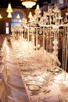 Glass and crystal table setting.