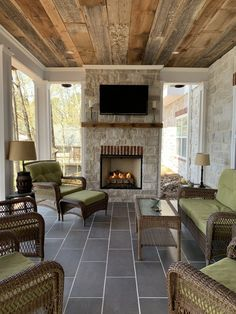 How we Built Our Outdoor Fireplace on our Patio Porch – Life with Neal & Suz -. - How we Built Our Outdoor Fireplace on our Patio Porch – Life with Neal & Suz – Kristy Broadhead - House, House With Porch, Fireplace Design, Porch Design, Porch Life, Patio Decor, Outdoor Fireplace, Fireplace, Outdoor Kitchen