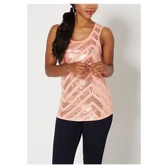 106129fbb001a Peach Brushed Geo Sequined Chevron Tank ❤ liked on Polyvore featuring tops