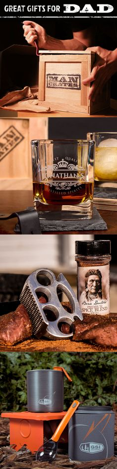 Looking for the perfect gift for Dad? Look no further than a bragworthy gift from Man Crates.   At Man Crates, we say 'no' to ugly neckties, cologne samplers and executive trinkets. We don't save wrapping paper, we don't do ribbons.  We ship bragworthy gifts for guys. Gifts that you can't wait to arrive because you know the recipient will love opening them. This is what your dad needs this Father's Day... make him proud!