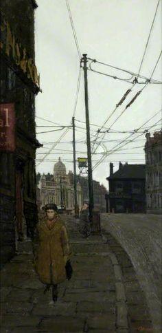 """Manor Row, Bradford"" by Frank Johnson, c.1954. (oil on board)"