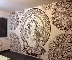 Wall drawings ideas 30 beautiful wall art ideas and diy wall Mandala Design, Mandala Art, Mandalas Painting, Ganesha Tattoo Mandala, Deco Zen, Wall Murals, Wall Art, Wall Decor, Wall Drawing