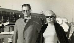 MARILYN MONROE and husband ARTHUR MILLER taken circa 1957 at an airport, with Pan American World Airways