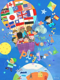 The World Is Your Playground, International // Global Baby Nursery & Kid's Room Canvas Wall Art | Oopsy daisy