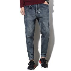 27.44$  Buy here - http://aiuh0.worlditems.win/all/product.php?id=32741678964 - Fashion Baggy Elastic Harem Jeans Men Plus Size Taper Jeans Joggers Casual Hip Hop Pencil Jeans Skate Board Harem Pants