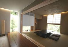 登美ヶ丘展示場(NEWAuthent) ヤマダ・エスバイエルホーム Modern Japanese Interior, Japanese Modern House, Asian Interior, Japanese Interior Design, Home Interior Design, Tatami Room, House Rooms, Ideal Home, House Design