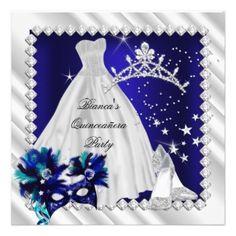Diamond Tiara Quinceanera Invitations Royal Blue Www