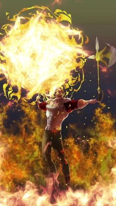 Escanor rises with the sun. Seven Deadly Sins Anime, 7 Deadly Sins, Otaku Anime, Anime Guys, Manga Anime, Anime Art, Anime Fantasy, Fantasy Art, Film Anime