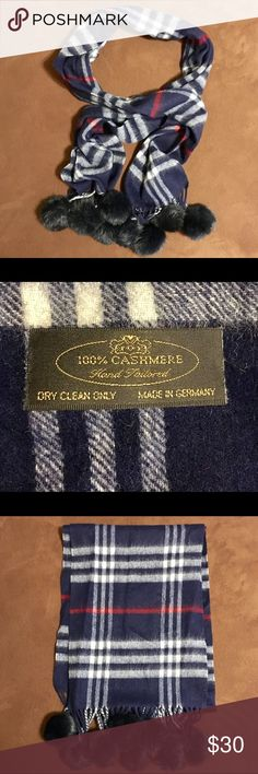 Tartan Cashmere Plaid Scarf A very gorgeous tartan blue plaid cashmere scarf with faux fur pom poms. 100% cashmere. Never worn. No wear. Wear casually or add to a dressed up look ☺. Accessories Scarves & Wraps