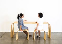 A Table & Stool Set Inspired by Folded Paper