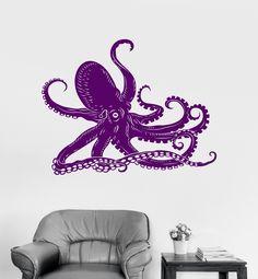 Vinyl Wall Decal Octopus Kraken Ocean Marine Animals Bathroom Art Stic – Wallstickers4you