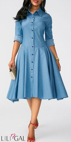 Langarm Chambray Shirt Kleid Swing Kleid Button Up asymmetrischer Saum Turndown Kragen blaues Kleid Source by liligalwomensfashion Trendy Dresses, Tight Dresses, Women's Fashion Dresses, Women's Dresses, Blue Dresses, Dress Outfits, Casual Dresses, Dresses With Sleeves, Spring Dresses