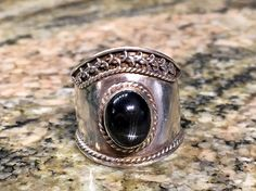 Sterling Silver Rings Black Cabochon Star Stone Ring! by EraofJewelry on Etsy