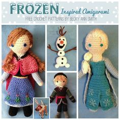 FREE Frozen Crochet Patterns: Inspired by the Disney Movie - Olfa, Elsa, Sven, Kristoff, Anna dolls, hats, and more. Create your own gift or keepsake