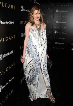 #Milla #Jovovich love her #Bohemian style #dress and platform sandals!