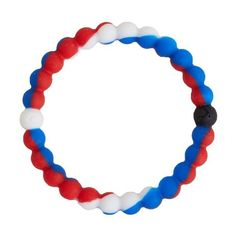 Lokai Balance Bracelet - Blue/Red/White Large ($18) ❤ liked on Polyvore featuring jewelry, bracelets, red jewelry, red bangles, red jewellery, blue bangles and blue jewelry