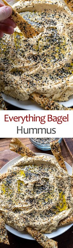 Everything Bagel Hummus Homemade Pita Chips, Homemade Hummus, Appetizer Dips, Appetizer Recipes, Yummy Snacks, Yummy Treats, Quick And Easy Appetizers, Everything Bagel, Canned Chickpeas