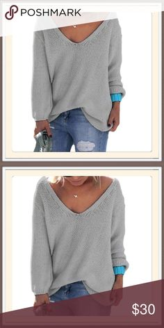 Plus Size Sweater NWT PLUS SIZE SWEATER.  Gray with large V-neck. Can be worn over something or alone.  BOUTIQUE Sweaters V-Necks