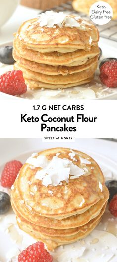 Low carb coconut flour pancakes are healthy + easy + fluffy keto coconut flour pancakes, NO bananas, 100 % grain free + dairy free. A delicious clean eating breakfast with only g net carbs per pancakes. Keto Pancakes Coconut Flour, Pancakes Sans Gluten, Pancakes Vegan, Coconut Flour Cakes, No Flour Pancakes, Low Carb Pancakes, Pancakes Easy, Low Carb Breakfast, Breakfast Gravy