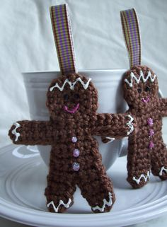 Gingerbread Crochet Ornaments by KTBdesigns on Etsy, $4.00
