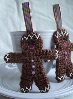 Gingerbread Crochet Ornaments by KTBdesigns on Etsy, $4.00