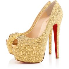 Christian Louboutin Highness Strass ($6,395) ❤ liked on Polyvore featuring shoes, pumps, heels, sapatos, high heels, zapatos, gold, peep-toe shoes, peep-toe pumps and christian louboutin pumps